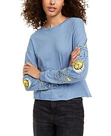Juniors' Celestial Long-Sleeved Graphic T-Shirt