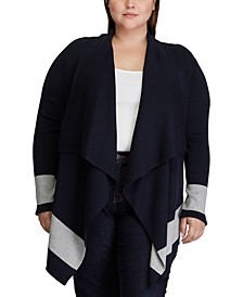 Plus Size Color-Blocked Cotton Cardigan