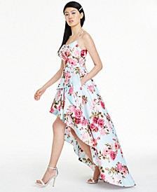 Juniors' Strappy-Back High-Low Dress