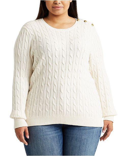 Lauren Ralph Lauren Plus Size Button-Trim Cable Sweater