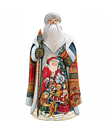 Woodcarved and Hand Painted Sharing Joy Village Santa Claus Figurine