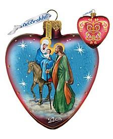 Nativity Hart Glass Ornament
