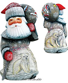 Woodcarved and Hand Painted Delightful Polar Bear Santa Figurine
