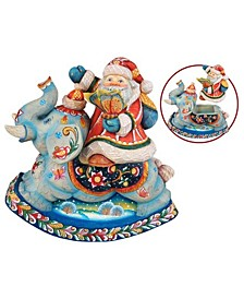 Santa On Elephant Surprise-Box Figurine