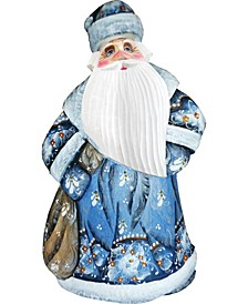 Woodcarved and Hand Painted Ornamental Santa Blue Figurine