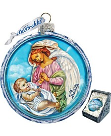 Jesus and Angel Cut Ball Glass Ornament
