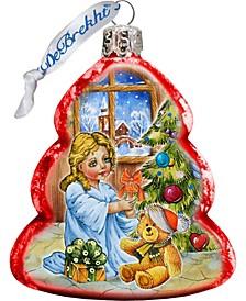 Nativity Santa Angel Glass Ornament