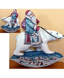 Woodcarved and Hand Painted Polar Bear Rocking Santa Claus Figurine