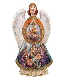 Woodcarved and Hand Painted Nativity Angel Santa Figurine