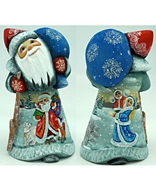 Woodcarved and Hand Painted Santa and Snowman Winter Play Santa Figurine