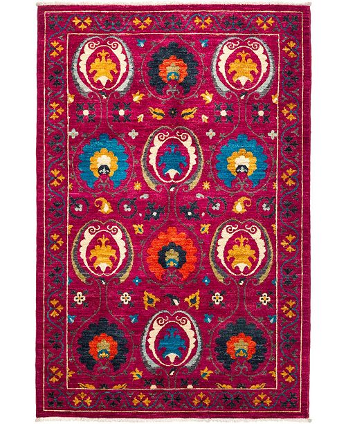 """Timeless Rug Designs CLOSEOUT! One of a Kind OOAK2783 Raspberry 4'2"""" x 6'5"""" Area Rug"""