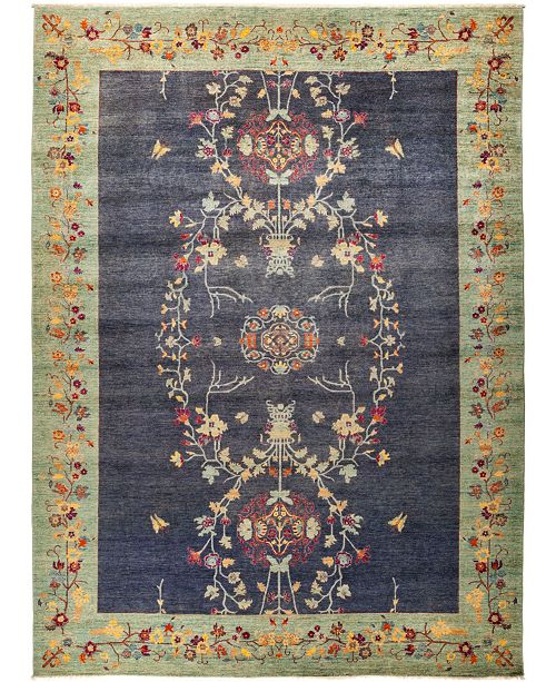 """Timeless Rug Designs CLOSEOUT! One of a Kind OOAK1234 Blue 10'1"""" x 13'6"""" Area Rug"""