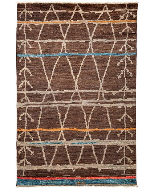 """Timeless Rug Designs CLOSEOUT! One of a Kind OOAK3334 Brown 5'10"""" x 9'2"""" Area Rug"""