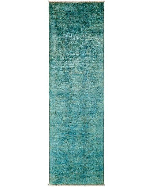 "Timeless Rug Designs CLOSEOUT! One of a Kind OOAK3234 Teal 3' x 9'7"" Runner Rug"