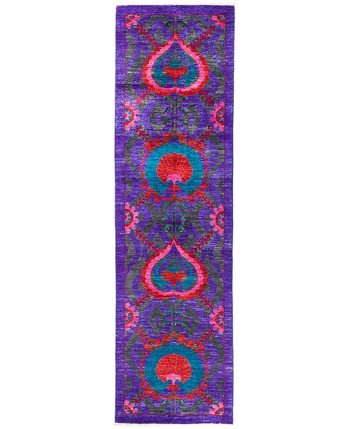 """Timeless Rug Designs CLOSEOUT! One of a Kind OOAK2853 Purple 3'1"""" x 10'10"""" Runner Rug"""