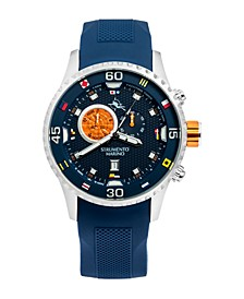Men's Porto Cervo Blue Silicone Professional Sport Performance Timepiece Watch 47mm