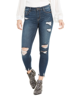 Thoughtfully destructed details convey a lived-in look on these stylish skinny jeans from Hidden Jeans.