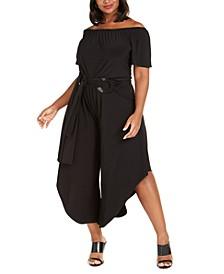 Plus Size Off-The-Shoulder Asymmetrical Jumpsuit