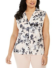 Plus Size Floral Print Sleeveless Shell Top
