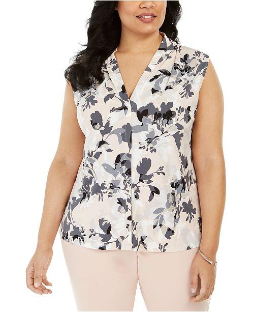Calvin Klein Plus Size Floral Print Sleeveless Shell Top