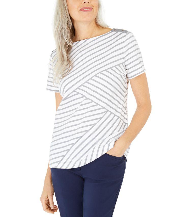 Karen Scott - Asymmetrical Striped Top