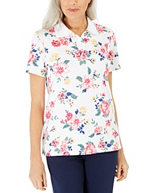 Petite Floral-Print Polo Shirt, Created for Macy's