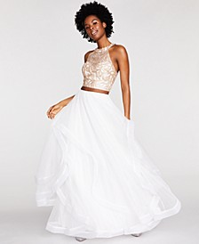Juniors' Embroidered 2-Pc. Gown Created for Macy's