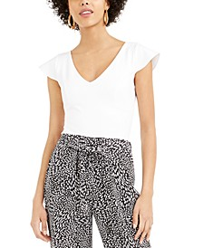 V-Neck Flutter Cap-Sleeve Top, Created For Macy's