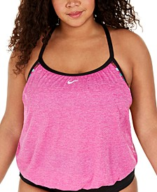 Plus Size Texture Stripe Layered Tankini Top