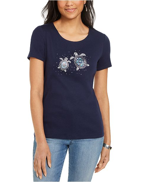 Karen Scott Cotton Embellished Sea Turtle Top, Created For Macy's