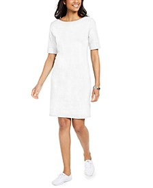 Petite Cotton Boat-Neck Dress, Created for Macy's