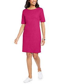 Karen Scott Cotton Cuffed-Sleeve Dress, Created for Macy's