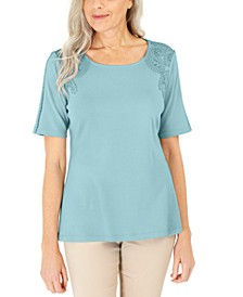 Cotton Crochet-Front Top, Created for Macy's