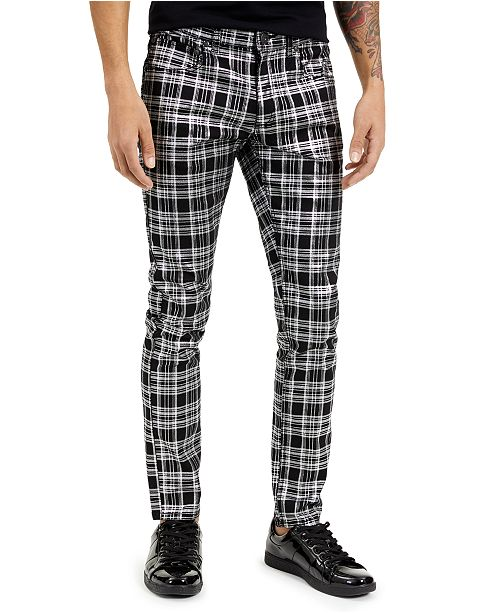 INC International Concepts I.N.C. Men's Skinny-Fit Stretch Plaid Jeans, Created For Macy's
