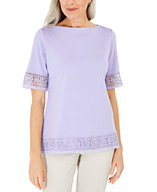 Karen Scott Cotton Crochet Fringed Top, Created for Macy's