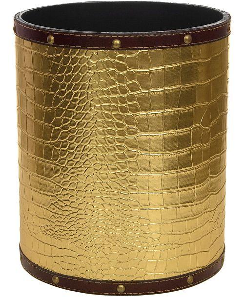 Red Lantern Gold Faux Leather Waste Basket