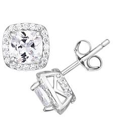 Cubic Zirconia Cushion Halo Stud Earrings in Fine Silver Plate