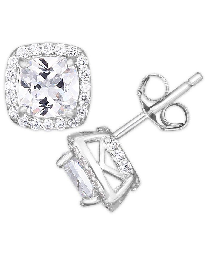 Macy's - Cubic Zirconia Cushion Halo Stud Earrings in Fine Silver Plate
