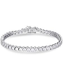 """Cubic Zirconia """"S"""" Link Line Bracelet in Fine Silver Plate"""