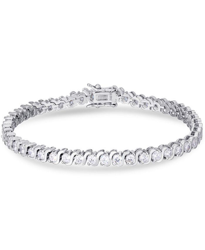 """Macy's - Cubic Zirconia """"S"""" Link Line Bracelet in Fine Silver Plate"""