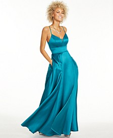 Juniors' Stretch Satin Faux-Wrap Gown