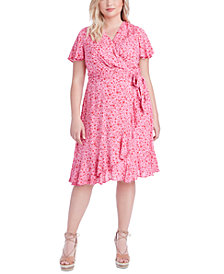 Jessica Simpson Trendy Plus Size Ellie Printed Faux-Wrap Dress