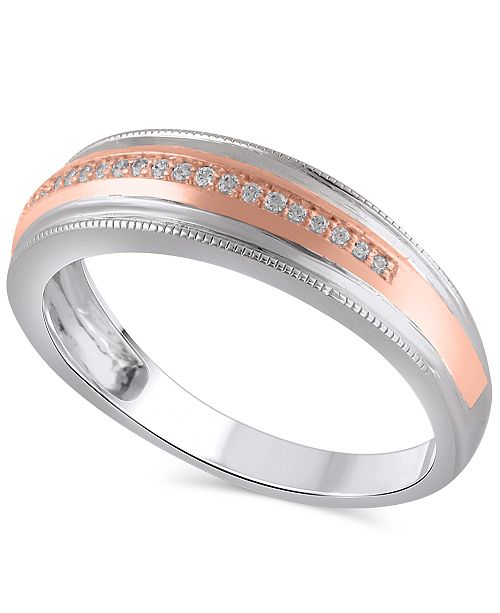 Macy's Men's Certified Diamond (1/10 ct. t.w.) Ring in 14K White and Rose Gold