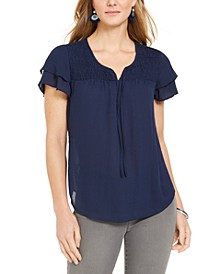 Smocked Flutter-Sleeve Top, Created for Macy's