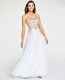 Juniors' Embroidered Lace-Up Gown, Created for Macy's