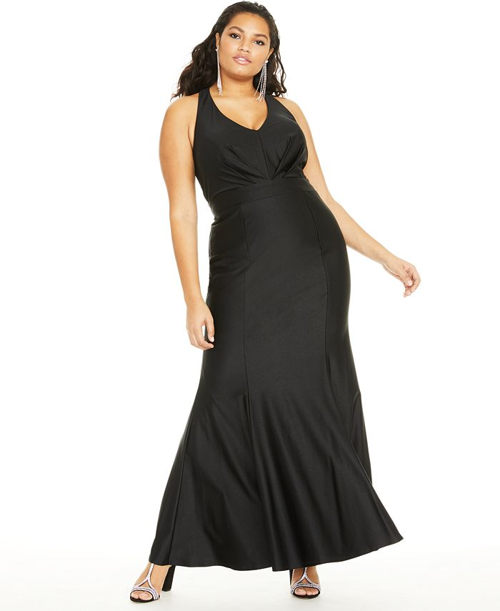 City Studios - Trendy Plus Size Pleated Plunge Gown