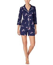 Cotton Knit Floral-Print Shorts Pajamas Set