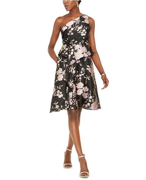 Adrianna Papell One-Shoulder Jacquard Dress