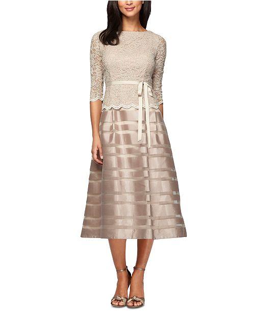 Alex Evenings Lace & Taffeta A-Line Dress