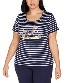 Plus Size Garden Bikes Embellished Cotton Top, Created for Macy's